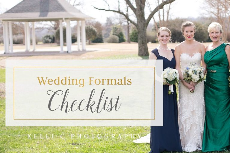 Checklist for your Wedding Formals